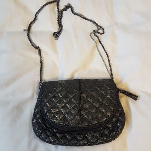 Gap Black Quilted Metallic Crossbody Purse